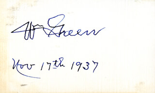 WILLIAM GREEN - AUTOGRAPH 11/17/1937
