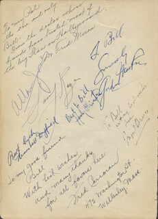 NIGEL BRUCE - BOOK PAGE SIGNED CO-SIGNED BY: SAMMY KAYE, ALLAN JONES, GORDON MacRAE, FRED MIRON, FRED CORCORAN, BRAINERD DUFFIELD