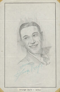 Autographs: GEORGE RAFT - ORIGINAL ART SIGNED CO-SIGNED BY: JOHN RAITT