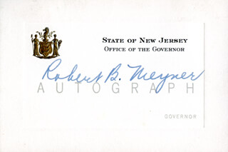 GOVERNOR ROBERT B. MEYNER - PRINTED CARD SIGNED IN INK