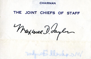 Autographs: GENERAL MAXWELL D. TAYLOR - PRINTED CARD SIGNED IN INK