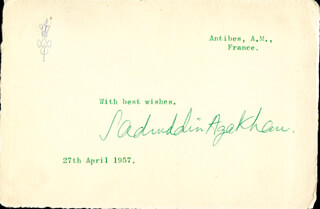 PRINCE SADRUDDIN AGA KHAN - TYPED SENTIMENT SIGNED