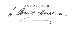 W. AVERELL HARRIMAN - PRINTED CARD SIGNED IN INK  - HFSID 284288
