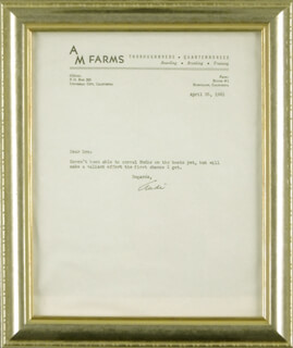 AUDIE MURPHY - TYPED LETTER SIGNED 04/26/1961
