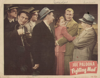 FIGHTING MAD MOVIE CAST - LOBBY CARD SIGNED CO-SIGNED BY: LEON ERROL, ELYSE KNOX