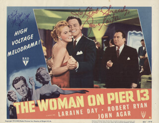 Autographs: THE WOMAN ON PIER 13 MOVIE CAST - INSCRIBED LOBBY CARD SIGNED CO-SIGNED BY: JANIS CARTER, JOHN AGAR