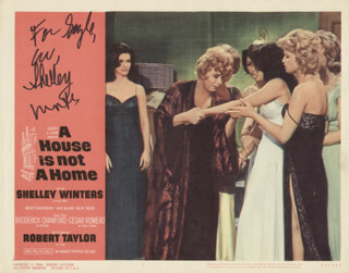 SHELLEY WINTERS - INSCRIBED LOBBY CARD SIGNED
