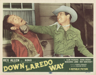 REX ALLEN - INSCRIBED LOBBY CARD SIGNED