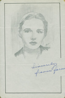 Autographs: FRANCES FARMER - ORIGINAL ART SIGNED CO-SIGNED BY: JOHN RAITT