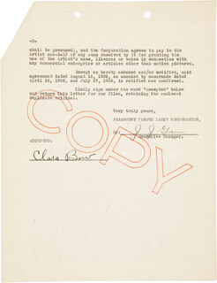 Autographs: CLARA BOW - CARBON TYPED LETTER SIGNED 10/01/1928 CO-SIGNED BY: J. J. GAIN