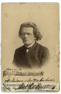 ANTON RUBINSTEIN - AUTOGRAPH MUSICAL QUOTATION ON PHOTO SIGNED CIRCA 1893