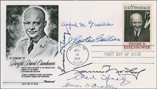 Autographs: GENERAL OMAR N. BRADLEY - FIRST DAY COVER SIGNED CO-SIGNED BY: GENERAL J. LAWTON COLLINS, GENERAL LUCIUS D. CLAY, GENERAL ALFRED M. GRUENTHER, GENERAL LAURIS NORSTAD, GENERAL CARL A. SPAATZ