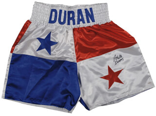 ROBERTO HANDS OF STONE DURAN - BOXING TRUNKS SIGNED