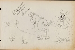 Autographs: LEO PANCHO CARRILLO - INSCRIBED ORIGINAL ART SIGNED CIRCA 1947 CO-SIGNED BY: LOU TEPPER