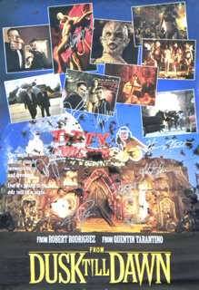 FROM DUSK TIL DAWN MOVIE CAST - AUTOGRAPHED SIGNED POSTER CO-SIGNED BY: GEORGE CLOONEY, CHEECH & CHONG (CHEECH MARIN), JULIETTE LEWIS, HARVEY KEITEL, SALMA HAYEK, QUENTIN TARANTINO, KELLY PRESTON, ROBERT RODRIGUEZ, DANNY TREJO - HFSID 284448