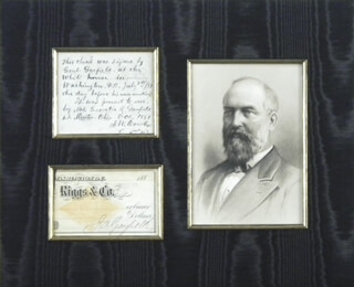 PRESIDENT JAMES A. GARFIELD - PARTIAL CHECK SIGNED