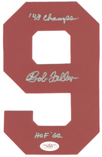 BOB FELLER - EPHEMERA SIGNED