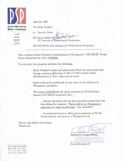 KIRBY PUCKETT - DOCUMENT SIGNED