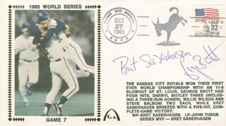 BRET SABES SABERHAGEN - COMMEMORATIVE ENVELOPE SIGNED CO-SIGNED BY: GEORGE H. BRETT