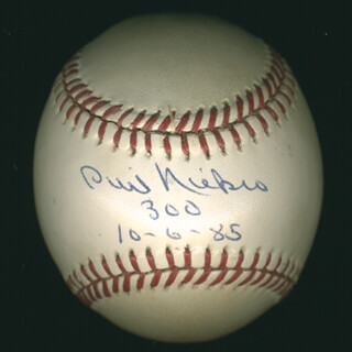 PHIL KNUCKSIE NIEKRO - AUTOGRAPHED SIGNED BASEBALL