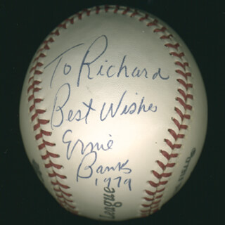 ERNIE MR. CUB BANKS - INSCRIBED BASEBALL SIGNED 1979
