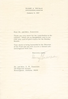 PRESIDENT HARRY S TRUMAN - TYPED LETTER SIGNED 01/04/1967