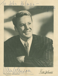 VAN JOHNSON - INSCRIBED PRINTED PHOTOGRAPH SIGNED IN INK CIRCA 1947