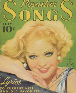 ALICE FAYE - MAGAZINE COVER SIGNED