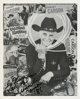 SUNSET CARSON - AUTOGRAPHED INSCRIBED PHOTOGRAPH 1985