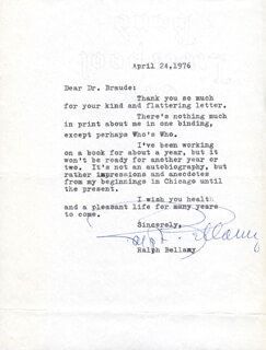 RALPH BELLAMY - TYPED LETTER SIGNED 04/24/1976
