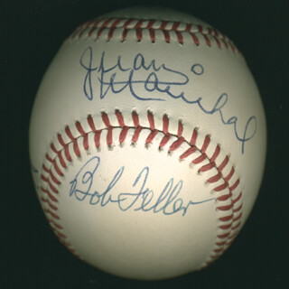 JIM CATFISH HUNTER - AUTOGRAPHED SIGNED BASEBALL CO-SIGNED BY: JUAN MARICHAL, BOB GIBSON, BOB FELLER