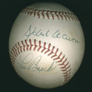 Autographs: HANK AARON - BASEBALL SIGNED CO-SIGNED BY: LOU BROCK