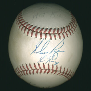 Autographs: HANK AARON - BASEBALL SIGNED CO-SIGNED BY: PETE ROSE, NOLAN RYAN