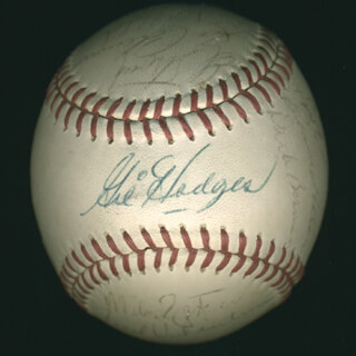 THE WASHINGTON SENATORS - BASEBALL SIGNED CIRCA 1967 CO-SIGNED BY: FRANK HONDO HOWARD, DOUG CAMILLI, BOB RABBIT SAVERINE, PAUL CASANOVA, PHIL KEMO ORTEGA, BOB CHANCE, CASEY COX, TIM CULLEN, DICK NOLD, FRED SQUEAKY VALENTINE, CAP (CHARLES ANDREW) PETERSON, DICK NEN, ED THE CREEPER STROUD, BERNIE ALLEN, MIKE SUPERJEW EPSTEIN, FRANK BERTAINA, BARRY MOORE, DICK LINES, GIL HODGES, KEN McMULLEN, JOHNNY HORSE ORSINO, ED BRINKMAN, DICK BOSMAN, JOE COLEMAN, DAROLD KNOWLES
