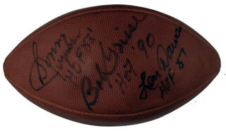 HALL OF FAME FOOTBALL - FOOTBALL SIGNED CO-SIGNED BY: LEN DAWSON, SONNY JURGENSEN, BOB GRIESE