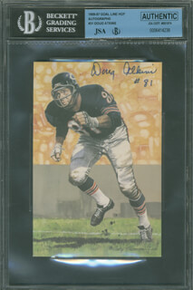 Autographs: DOUG ATKINS - FOOTBALL HALL OF FAME CARD SIGNED