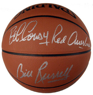 Autographs: BOSTON CELTICS - BASKETBALL SIGNED CO-SIGNED BY: KEVIN McHALE, RED (ARNOLD JACOB) AUERBACH, LARRY BIRD, ROBERT PARISH, BOB COUSY, BILL RUSSELL