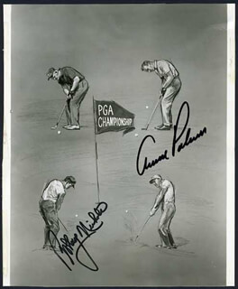 ARNOLD PALMER - ILLUSTRATION SIGNED CO-SIGNED BY: BOBBY NICHOLS