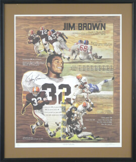 JIM BROWN - PRINTED ART SIGNED IN INK CO-SIGNED BY: GARY THOMAS
