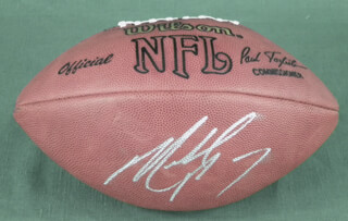Autographs: MICHAEL VICK - FOOTBALL SIGNED TWICE