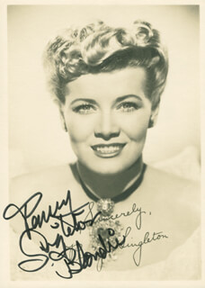 PENNY SINGLETON - AUTOGRAPHED SIGNED PHOTOGRAPH