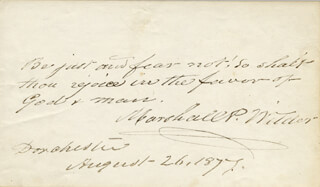 Autographs: MARSHALL P. WILDER - AUTOGRAPH QUOTATION SIGNED 08/26/1877