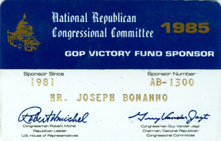 Autographs: JOSEPH BONANNO - MEMBERSHIP CARD SIGNED