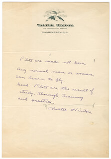 WALTER HINTON - AUTOGRAPH QUOTATION SIGNED