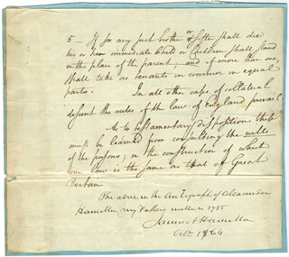ALEXANDER HAMILTON - AUTOGRAPH MANUSCRIPT UNSIGNED CIRCA 1785 WITH JAMES A. HAMILTON