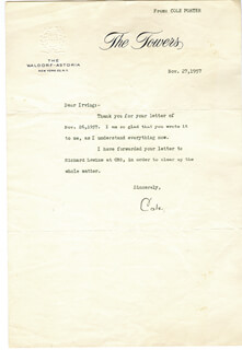 COLE PORTER - TYPED LETTER SIGNED 11/27/1957
