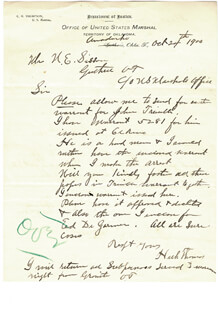 HENRY H. HECK THOMAS - AUTOGRAPH LETTER DOUBLE SIGNED 10/24/1900 CO-SIGNED BY: NED E. SISSON