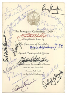 Autographs: PRESIDENT GERALD R. FORD - PROGRAM SIGNED CIRCA 1969 CO-SIGNED BY: GOVERNOR RICHARD J. HUGHES, GOVERNOR RAYMOND P. SHAFER, GOVERNOR BUFORD ELLINGTON, GOVERNOR ROBERT D. RAY, GOVERNOR WALTER PETERSON, COLONEL HARLAND SANDERS, VICE PRESIDENT NELSON A. ROCKEFELLER, GOVERNOR LESTER G. MADDOX, GOVERNOR DANIEL J. EVANS, GOVERNOR EDGAR D. WHITCOMB, HAPPY (MARGARETTA) ROCKEFELLER, JOHN C. WHITAKER