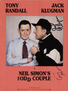 THE ODD COUPLE TV CAST - PROGRAM SIGNED CIRCA 1994 CO-SIGNED BY: JACK KLUGMAN, TONY RANDALL