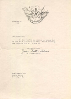 THE PICKENS SISTERS (JANE PICKENS) - TYPED LETTER SIGNED CO-SIGNED BY: THE PICKENS SISTERS (PATTI PICKENS), THE PICKENS SISTERS (HELEN PICKENS)